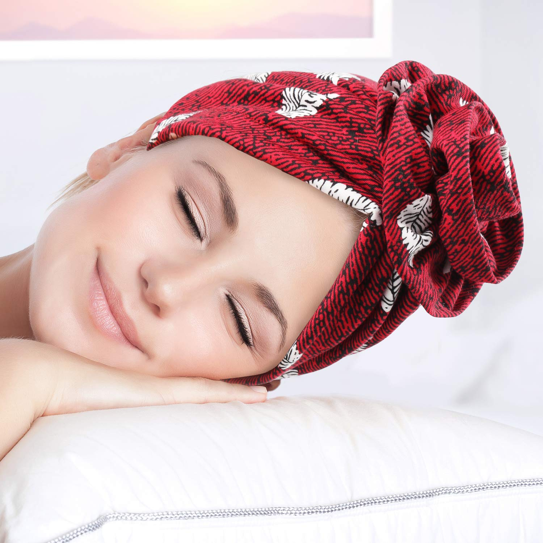 3 Pezzi Berretto di Cotone Fiore Elastico Turbante Annodato Cappello retr/ò Capelli Elastici Testa Avvolgere Berretto da Notte per Le Donne