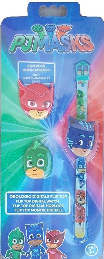 Reloj PJ MASKS Super pigiamini 3 caras intercambiables Geko gufetta gato Boy de pulsera digital –