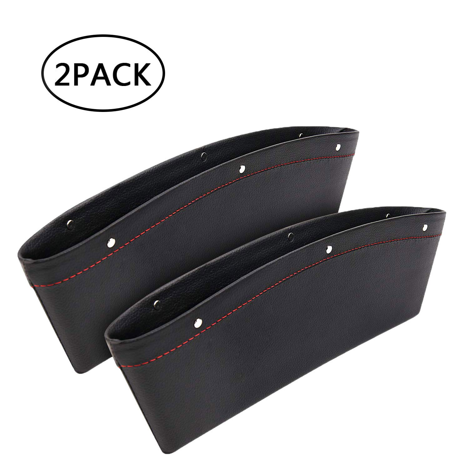 Car Interior Accessories Car Seat Pockets Organizer Caddy Catcher Auto Filler Gap PU Leather Car Console Side Organizer for Cellphone Wallet Coin Key Credit Card Black-2 Pack