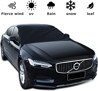 Hippo Windshield Snow Cover /& Mirror Covers Used for Storage Pouch Ice Sun Frost and Wind Proof in All Weather Black Fit for Most Vehicle with Size