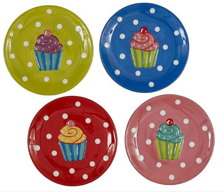 Design Imports Stoneware Cupcake Dessert Plates Set OF 4