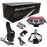 Modos impermeables del interruptor de la lámpara +Battery Pack+Charger 4 de la luz de la bici de la luz de la bicicleta del lumen XML U2 LED de la luz 7500 de la bici del buho LED (rojo)