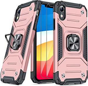 JAME Case for iPhone XR Cases with Screen Protector 2PCS, Military-Grade Drop Protection, Protective Xr Phone Case, Shockproof Bumper XR Case with Ring Kickstand, for iPhone XR 6.1 Inch Rose Gold