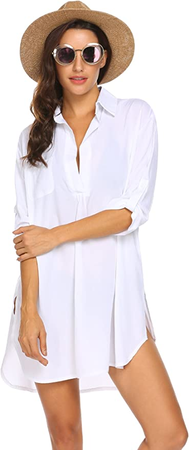 Ekouaer Women's Beachwear 3/4 Sleeves Swimsuit Cover Up Sexy Beach Shirt Dress White