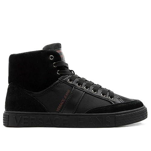Versace Jeans Sneakers Alta Nera in Pelle e camoscio 40  Amazon.it ... bef86da3880