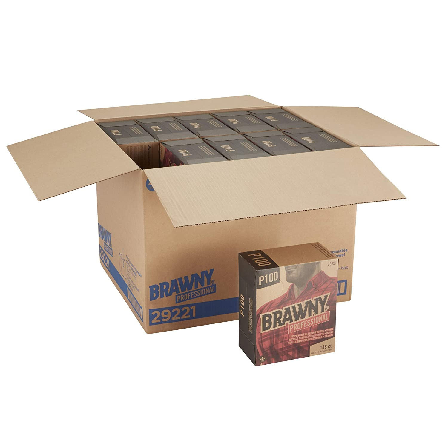 29222 Light Duty Brown Tall Box 20 Boxes @ 148 Count Brawny Professional P100 Disposable Cleaning Towel by GP PRO