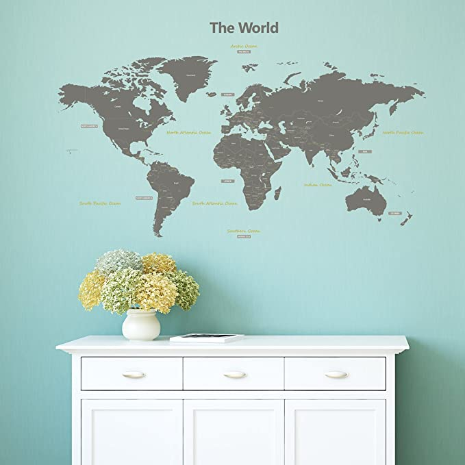 Amazon decowall dl 1509g modern grey world map kids wall decals amazon decowall dl 1509g modern grey world map kids wall decals wall stickers peel and stick removable wall stickers for kids nursery bedroom living gumiabroncs Gallery