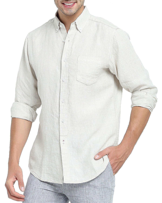 Najia Symbol Camisa de 100/% Lino Tela Hombre Manga Larga Casual Button Down Collar 340