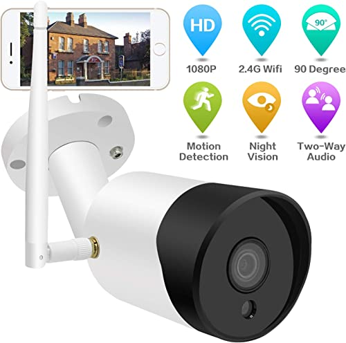 Outdoor Security Camera Wireless-1080P WiFi Home Security Camera Outdoor with Night Vision, 2-Way Audio, Motion Detection, 2.4G WiFi IP Security Surveillance Cameras Wireless Outside Camera