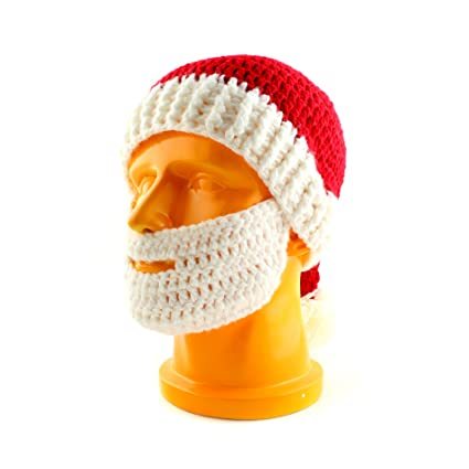 4f855cba768 Amazon.com  IDS Home Winter Christmas Crochet Beard with Knitted Beanie Hat  Santa Costumes Warm Ski Cap