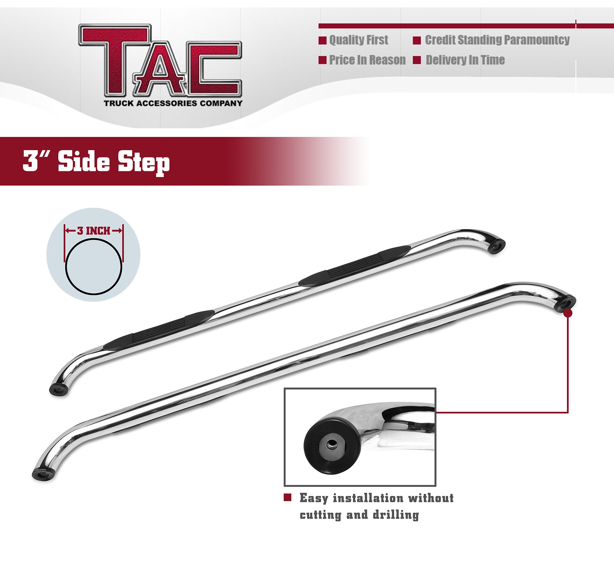 TAC Side Steps Fit Chevy Silverado/GMC Sierra 1999-2018 1500 & 1999-2019 2500/3500 Extended/Double Cab (Excl. C/K Classic) 3'' Stainless Steel Side Bars Nerf Bars Step Rails Running Boards 2 Pieces by TAC TRUCK ACCESSORIES COMPANY (Image #6)