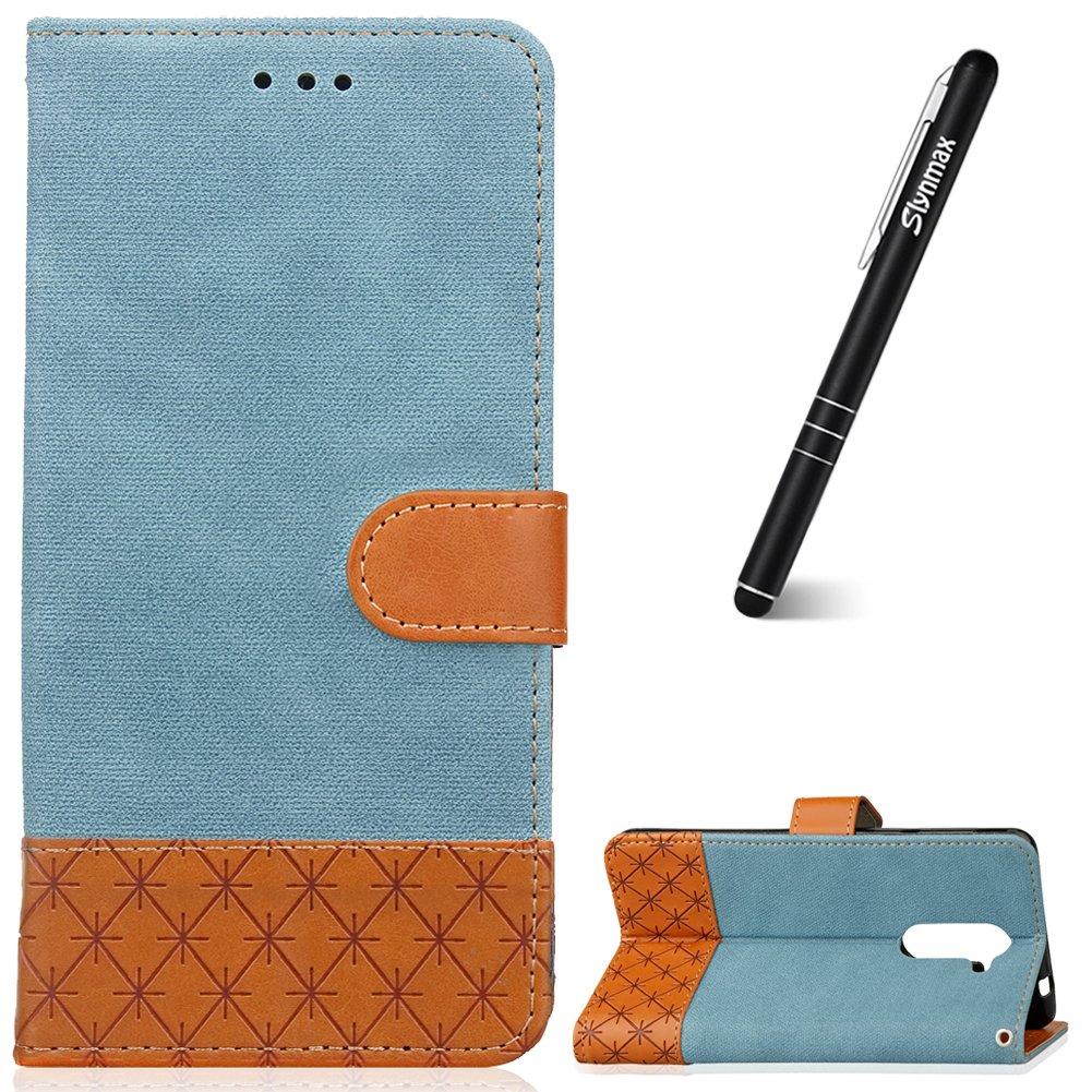 Huawei Honor 6X Hü lle Schwarz, Huawei Honor 6X Handyhü lle Leder, Slynmax Ledertasche Flip Wallet Case Silikon Tasche Kompletter Stand Schutzhü lle fü r Huawei Honor 6X