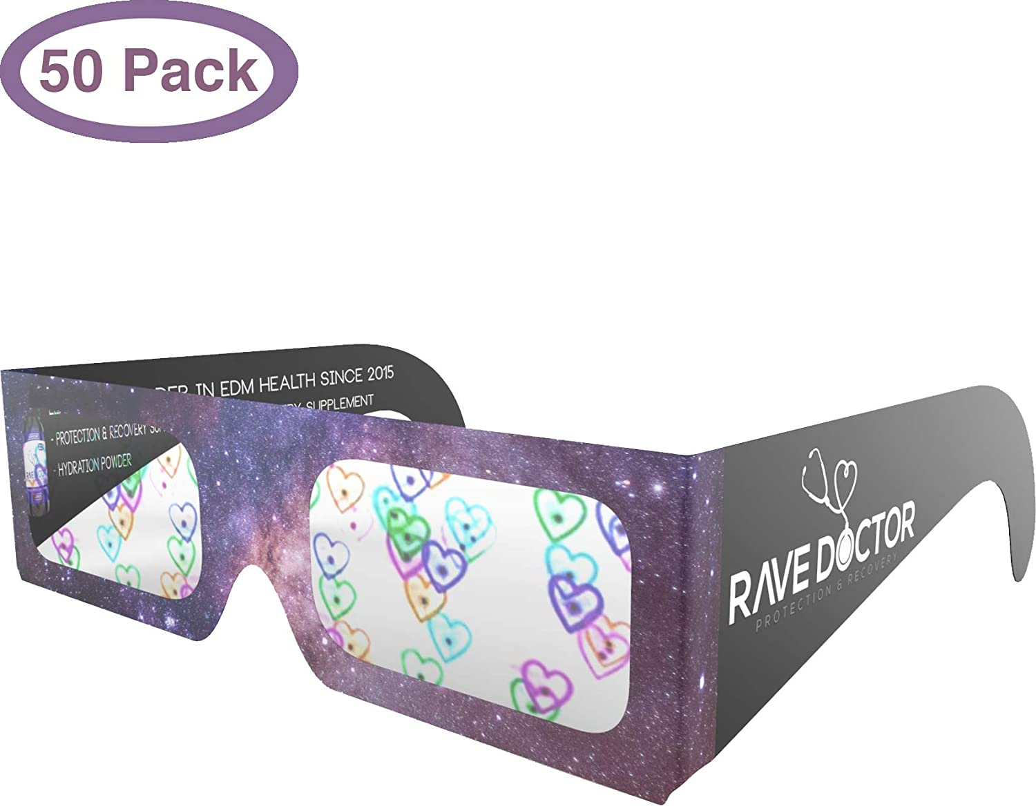 Rave Party Festival Holographic Refraction Glasses 3D Holographic Rainbow Heart Fireworks EDM Sunglasses Rave Glasses 50 Paper Heart Diffraction Glasses Festival Accessories