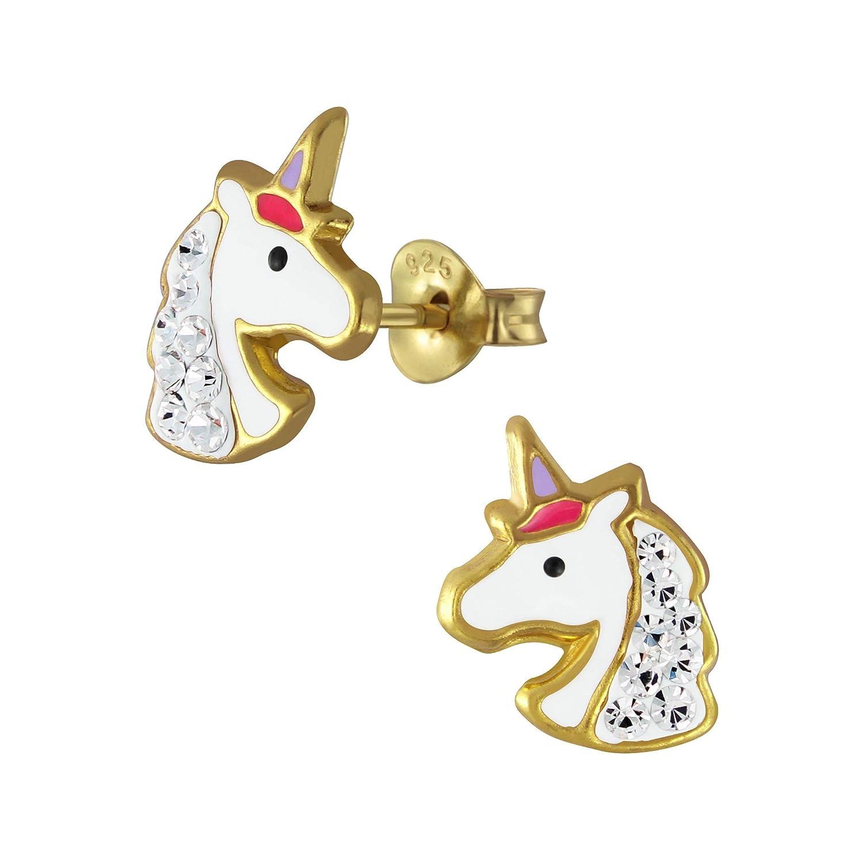 Boucles doreilles en argent sterling avec t/ête de licorne plaqu/ée or et pierres en cristal transparent