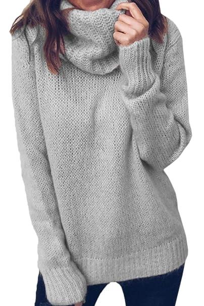 e8ac8e0a577d Fasumava Suéteres Jersey Cuello Alto Talla Grande Casual Invierno Tops  Tejidos para Mujer: Amazon.es: Ropa y accesorios