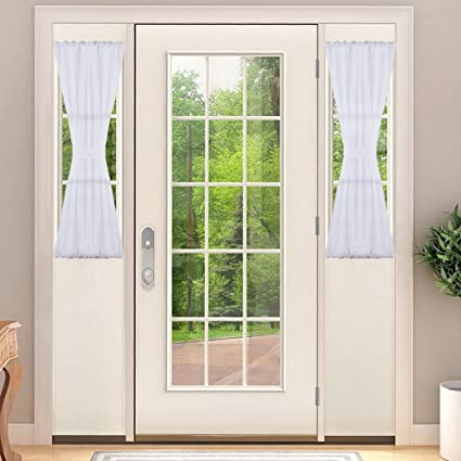 NICETOWN Sidelight Curtains For Front Door, Door Side Ligt Sheers Curtains  With Tiebacks, Sidelight