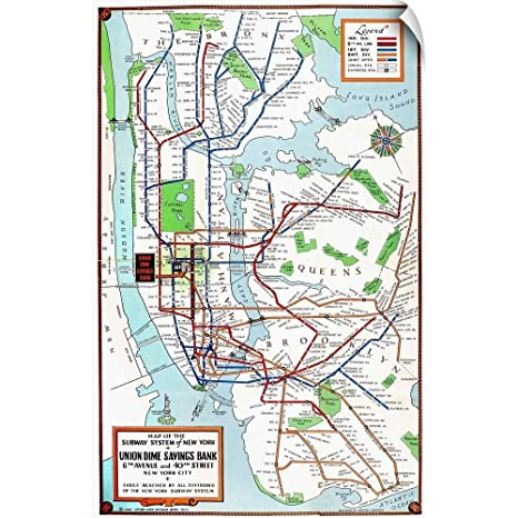 Nyc Subway Map Canvas Wall Art.Amazon Com Canvas On Demand Wall Peel Wall Art Print Entitled New