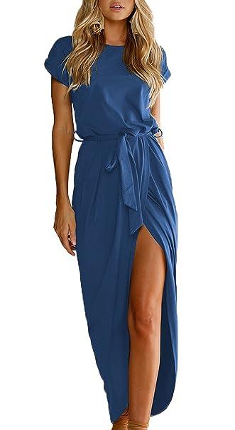 Mujer Verano Maxi Vestido de Partido Nocturna Día Cóctel Fiesta Vestidos de Playa Con Cinturón Hendidura