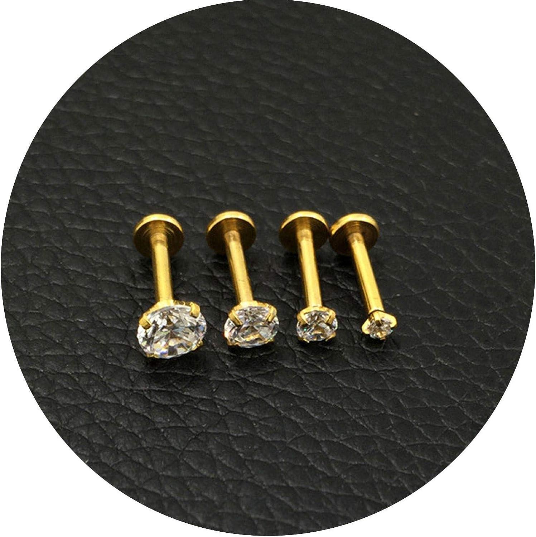 1pc 16G Silver Titanium Anodized Internally Threaded Prong Top Gem Labret lip piercing Zircon labret ring Tragus Earring,Diameter 5mm,Silver Length 8mm