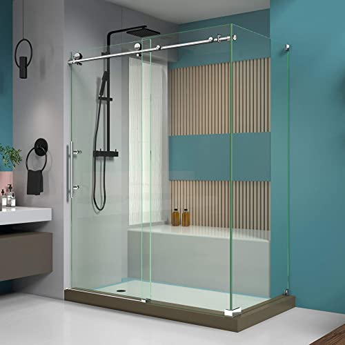 DreamLine Enigma-X 34 1 2 in. D x 60 3 8 in. W x 76 in. H Fully Frameless Sliding Shower Enclosure in Polished Stainless Steel, SHEN-6134600-08