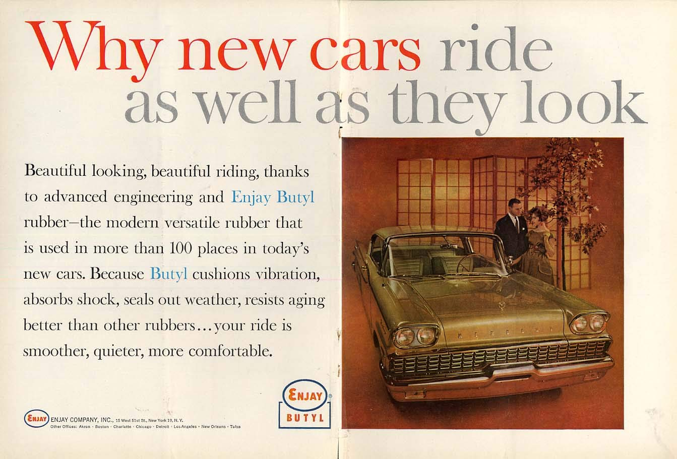 Why New Cars Ride As Well As They Look Enjay Butyl Ad 1959 Mercury