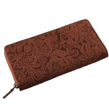 STILORD Flora Cartera Mujer Cuero Monedero con Flores Billetera Billetero con Estampado Floral de auténtica Piel Vintage, Color:Cognac-marrón