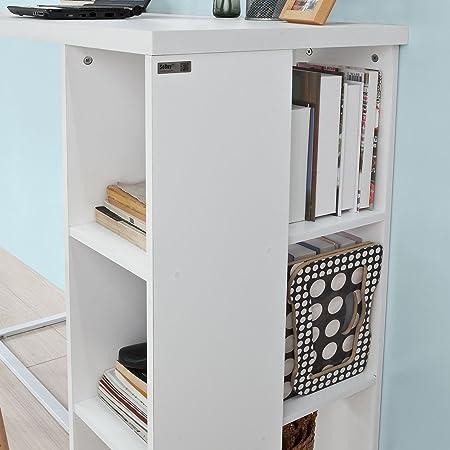 SoBuy Mesa de Escritorio Alta, Mesa de Ordenador con 3 Estantes,Color Blanco, L120 x H105 cm,FWT39-W,ES (Mesa)