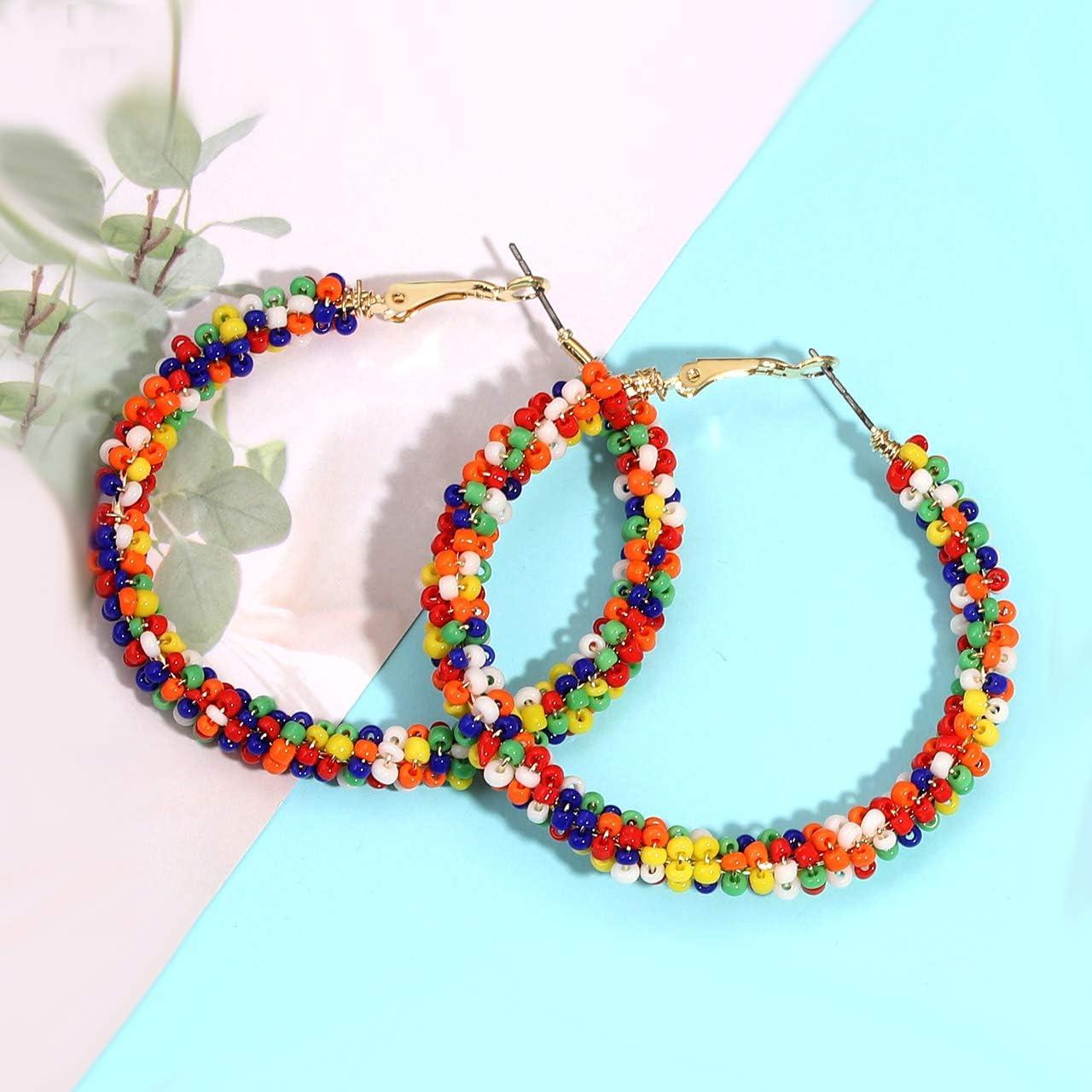 CEALXHENY Beaded Hoop Earrings for Women Mixed Color Bead Dangle Earrings Bohemia Hoop Dangle Earring Studs for Girls
