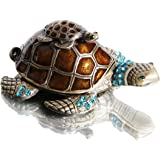 Waltz&F Turtle Trinket Jewelry Box with Sparkling Light Green Crystals,Hinged Trinket Box Hand-painted Figurine Collectible R