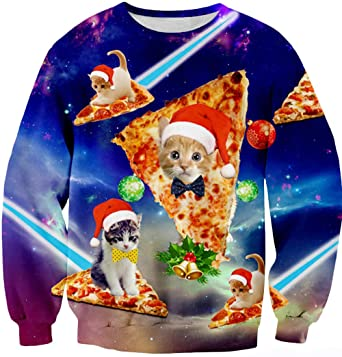 bfa54951 Leapparel Men/Women Ugly Christmas Sweater 3D Print Pullover Funny Graphic  Sweatshirts Pizza Cat Small. Roll over image to ...