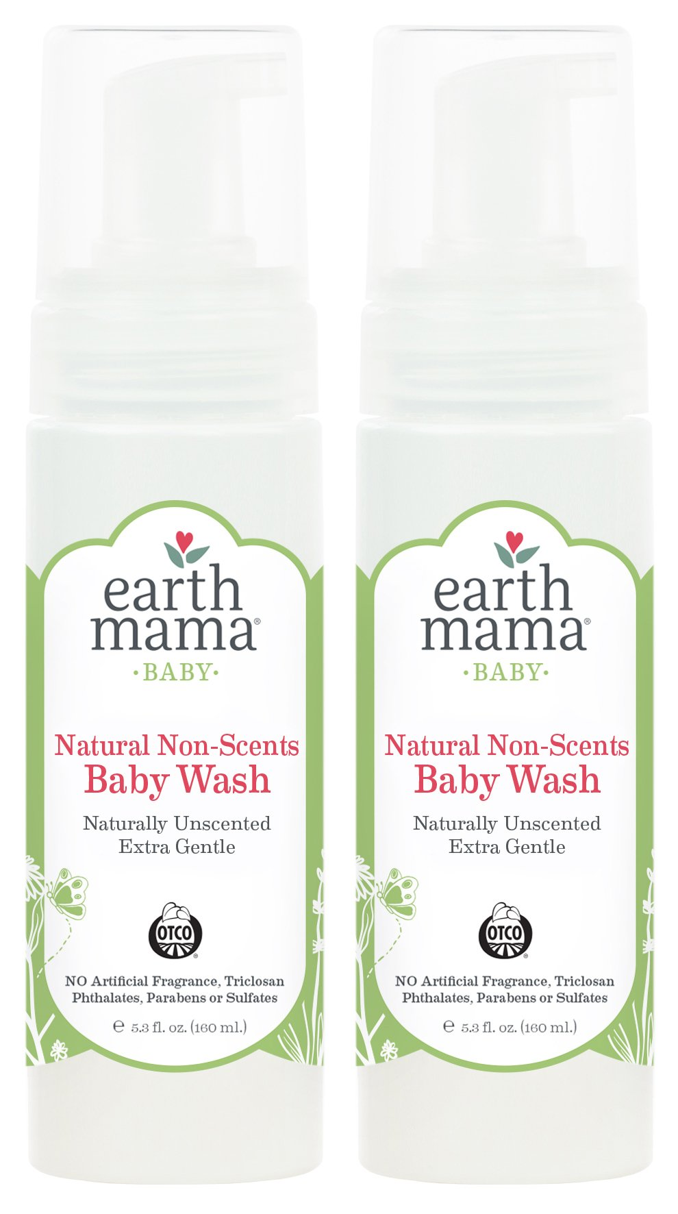Earth Mama Natural Non-Scents Baby Wash Gentle Castile Soap For Sensitive Skin, 5.3-Fluid Ounce (2-Pack)