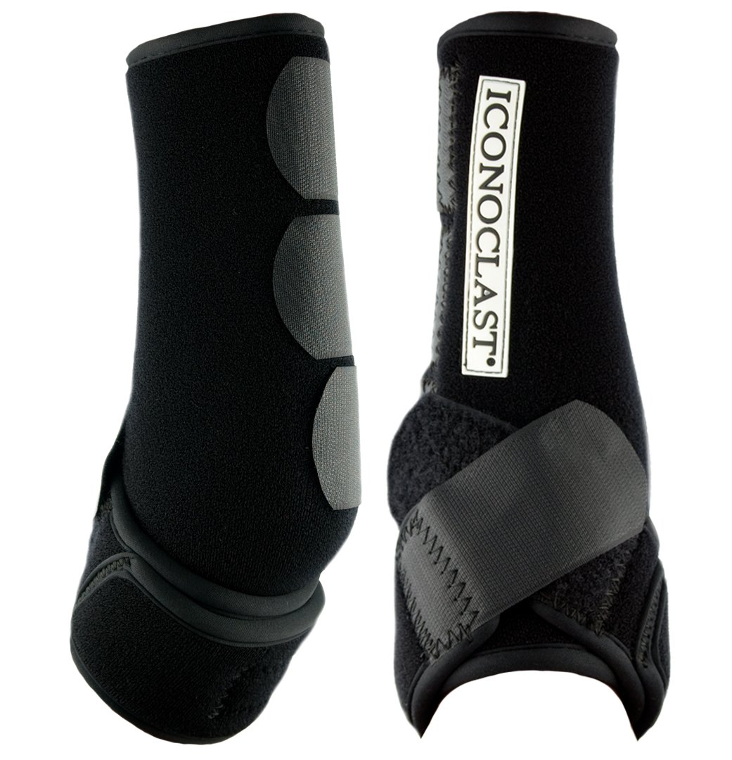 Iconoclast Orthopedic Support Boots - 1 Pair for Front Legs (Black, Large)