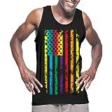HAASE UNLIMITED Mens Big Rainbow Flag - Gay Lesbian Tank Top T-shirt