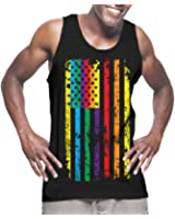 HAASE UNLIMITED Mens Big Rainbow Flag - Gay Lesbian Tank Top T-shirt