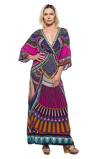 d4b67dbf7f Women s Vintage Style Kimono Caftan Sleeve Ethnic Plunge Wrap Long Maxi  Dress (Small)