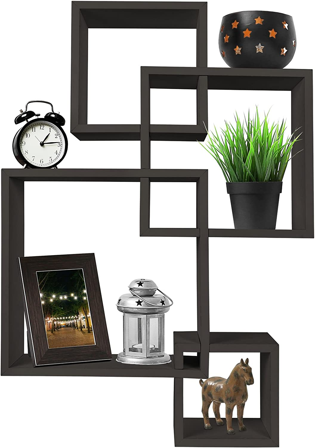 Greenco 4 Cube Intersecting Wall Mounted Floating Shelves Espresso Finish: Home & Kitchen