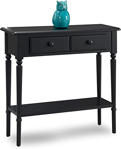 Leick Coastal Narrow Hall Stand Sofa Table with Shelf, Swan Black