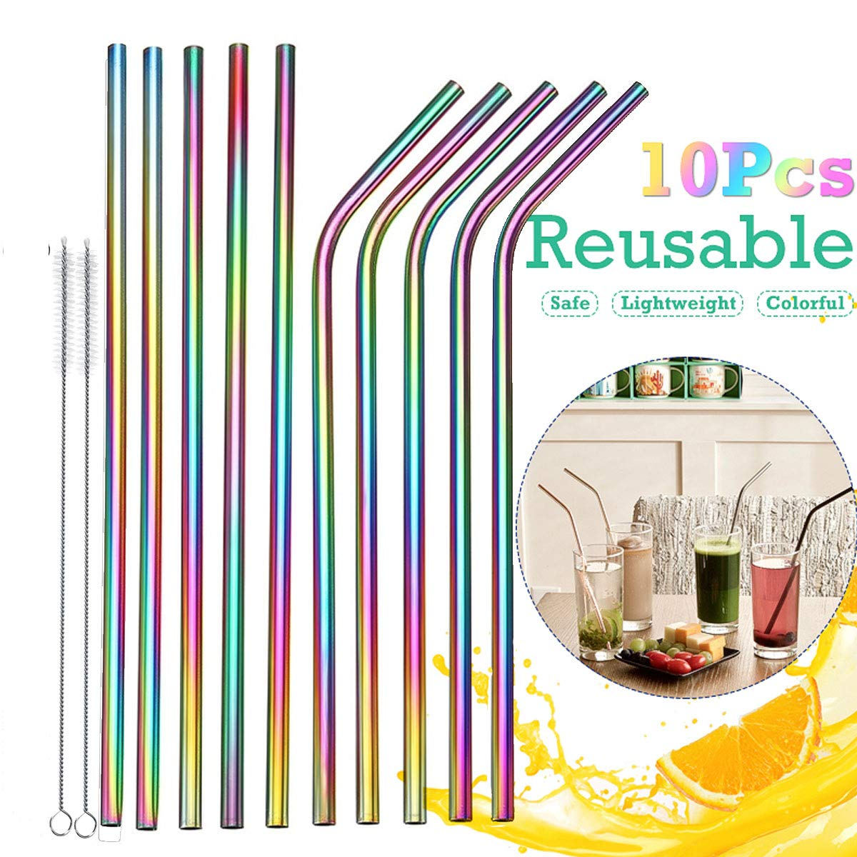 Multicolor Stainless Steel Straws, KeepTpeeK 10 Pcs Drinking Reusable Environment Friendly Straws with Ultra Long Cleaning Brush for Tumblers Cold Beverage(5 Straight,5 Bent,2 Brushes)
