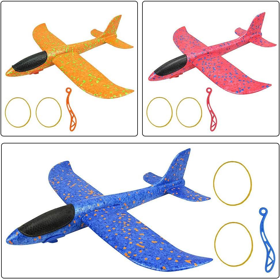 3 Pcs Planeador de Juguete para ni/ños Diealles Shine Avi/ón Planeador Deportes al Aire Libre Volar Juguete 35cm