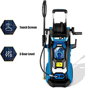 TEANDE Smart Pressure Washer 3800 PSI Electric High Powerful Touch Screen 3 Gear Level with Telescopic Handle, Hose Reel (Blue)