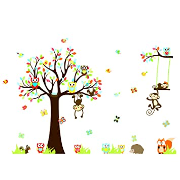 DaGouCartoon Forest Animal Owls Tree Swing Nursery Wall Stickers Wall  Murals , Removable Art Wall Decals