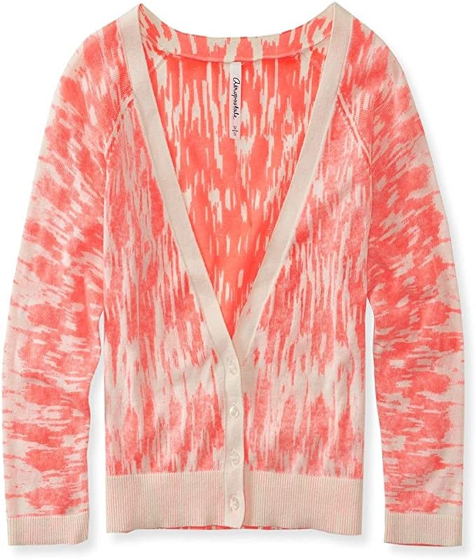 Aeropostale Womens Ikat Reverse Crop Cardigan Sweater