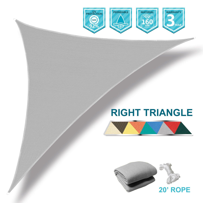 Coarbor 16'x16'x23' Right Triangle Light Grey UV Block Sun Shade Canopy Perfect for Patio Yard Deck Outdoor Garden