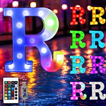 16 Color Changing Marquee Letter Light,Light Up Colorful 26 Alphabet Signs – Home Decor Name Signs – USB Powered LED Remote Timer – Lighted Vintage Accessories & Decorations-R