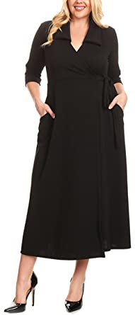 Dear-Queen Black Collared Plus Size Tie Side Wrap Dress at Amazon ...