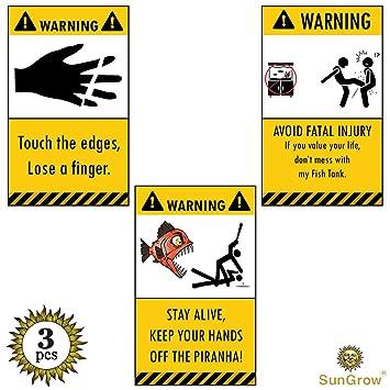 amazon com 3 aquarium warning stickers stick on aquarium under 1