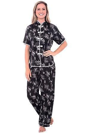 Del Rossa Women's Satin Pajamas, Chinese Inspired Pj Set at Amazon ...