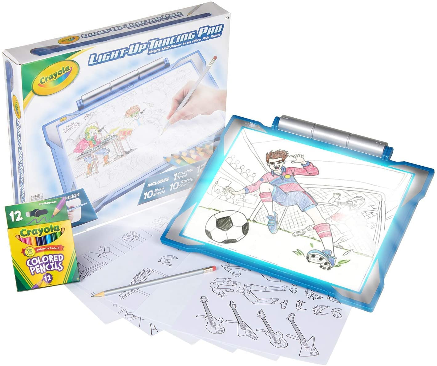 Amazon Com Crayola Light Up Tracing Pad Blue Toys Gift For Boys Girls Ages 6 Toys Games