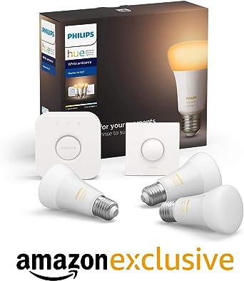 Philips Hue Pack de 3 Bombillas Inteligentes LED E27, con ...