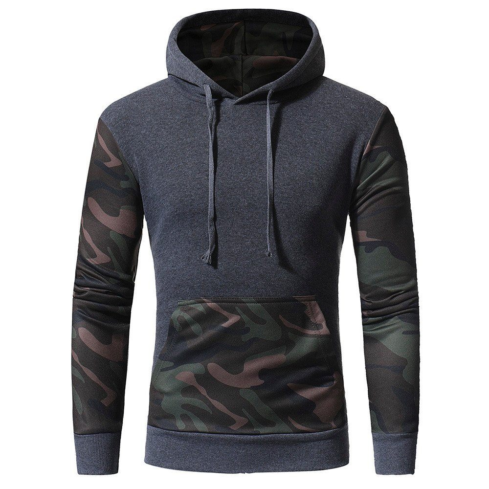 Farjing Hoodie Sweatshirt for Men,Clearance Sale Mens' Camouflage Long SleevePrint Hooded Sweatshirt Tops Jacket Coat Outwear(M,Gray